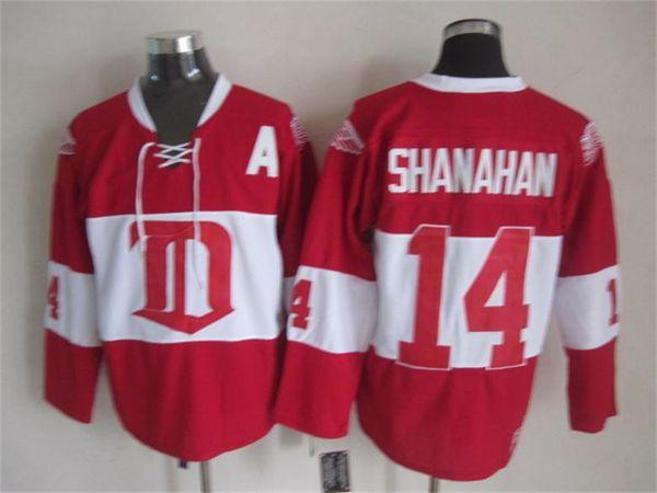 265568d1 Detroit Red Wings 17 Brett Hull Jersey Man 33 Kris Draper 31 Curtis Joseph  14 Brendan Shanahan Red White Vintage Classic 75th
