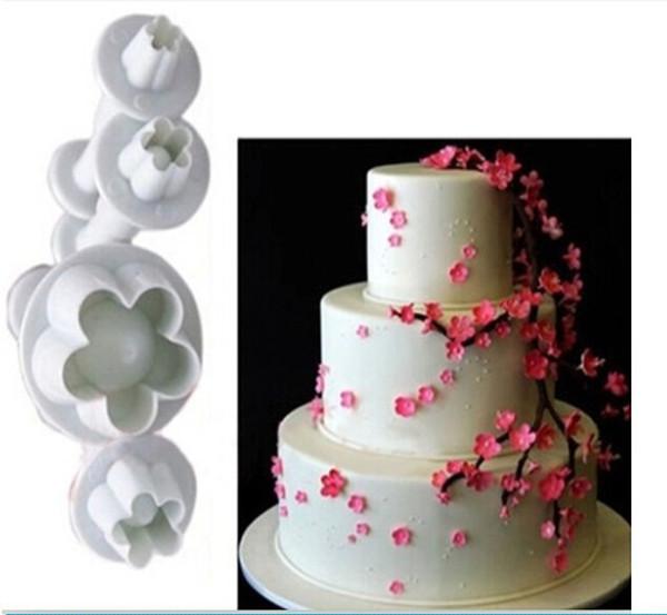 2016 Hot Sale 4Pcs/Set Plum Flower Plunger Fondant Mold Cutter Sugarcraft Cake tools Decorating Christmas Cake Decorating Tools