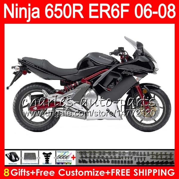 8Gifts 23Colors Body For KAWASAKI NINJA 650R ER6F 06 07 08 Ninja650R gloss black 20NO74 ER 6F 06-08 ER6 F ER-6F 2006 2007 2008 Fairing Kit
