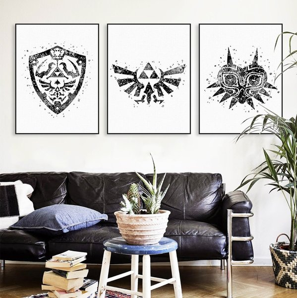 Legend Of Zelda Wall Art.2019 Original Watercolor Modern Legend Of Zelda 2 Logo Game Movie Canvas A4 Art Print Poster Wall Pictures Home Decor Painting No Frame From