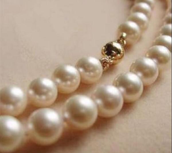 7-8MM AAA Weiß Akoya Perlenkette 17