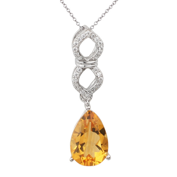 925 Sterling Silver Pendant for Lady Necklace 8x12mm Pear Cut Natural Yellow Citrine Jewelry 18-inch Cable Chain P046GCN