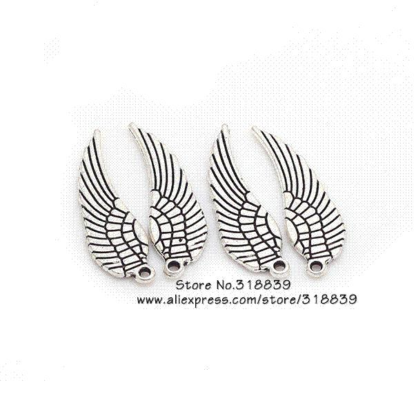 Mini Angel Wings Charms Vintage Metal Zinc Alloy Fashion Trendy Small Wings Pendant for Jewelry Making 80pcs 9*30mm 6489