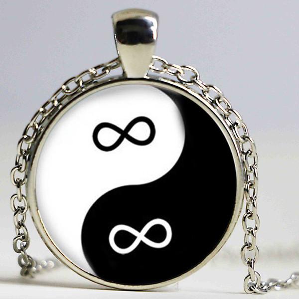 Yin Yang Infinity Eternity Zen Pendant Necklace Glass Art Print Jewelry Best Friends Pendant