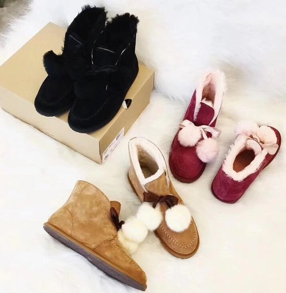 New Fashion Women's Winter Warm Snow boots Genuine Leather Casual bowknot shoes Brand Woman Thicken fur lining Shirt boots