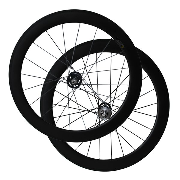 Fix Gear Wheels Full Carbon 60 mm Tubular 3K Matte Carbon Wheelset for Track Bike A165SBT/A166SBT Hub