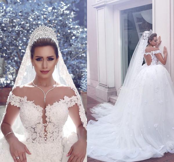 Primavera Verão Lace vestido de baile vestidos de casamento Puffy Tulle vestido de noiva Off-ombro frisado Backless Plus Size vestido aberto nas costas