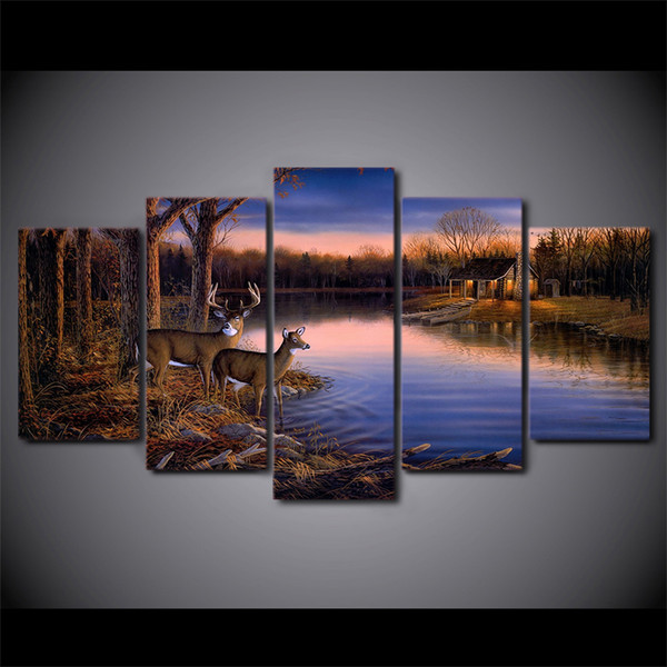 HD Printed 5 Piece Canvas Art Deer Lake Landscape Sunset Painting Nature Wall Pictures for Living Room Free Shipping