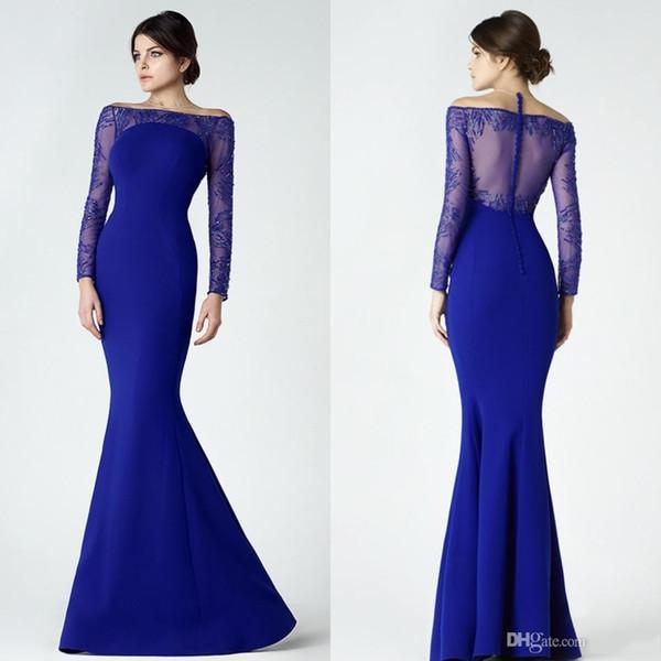 Mermaid Prom Dress Long Cheap Off Shoulder Neck Long Sleeve Iullsion ...