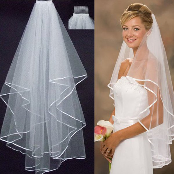 Two Layers Tulle Hot Sale Cheap Wedding Bridal Accessory For wedding Dresses Cheap Wedding Net In Stock Short Bridal Veils 2018