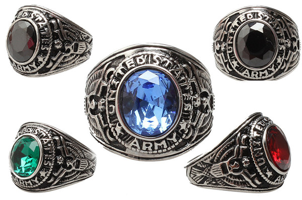 Hot 100% good quality 316L stainless steel mens US army ring with large crystal rings jewelry