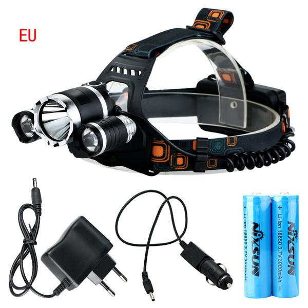 NOUVEAU 6000Lm CREE XML T6 + 2R5 LED Phare Lampe frontale Lampe frontale Projecteurs Portables Projecteurs 5-Mode Torch + EU / US / Chargeur de voiture pour feux de pêche