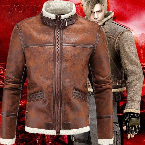 5XL Resident Evil 4 IV PU Men Jacket Plus Velvet LEON KENNEDY Faux Leather Stand Collar Fur Jackets Costumes Thick Coat J161111