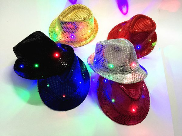 LED Light Hip Hop Hats Men Women with 6 Led Flash Light Novelty Led Cap for Bar Party Concert Prom Mens Womens Sun Hat with Sequins Cheap