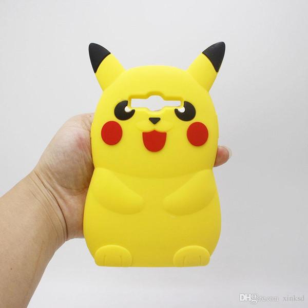 3D Pikachu Yumuşak Silikon Jel Kılıf Iphone 6 6 S Artı I6 I6S 5 5 S Samsung Galaxy J1 J3 J5 J7 Grand Başbakan Neo Artı Karikatür Kauçuk Telefon Kapak