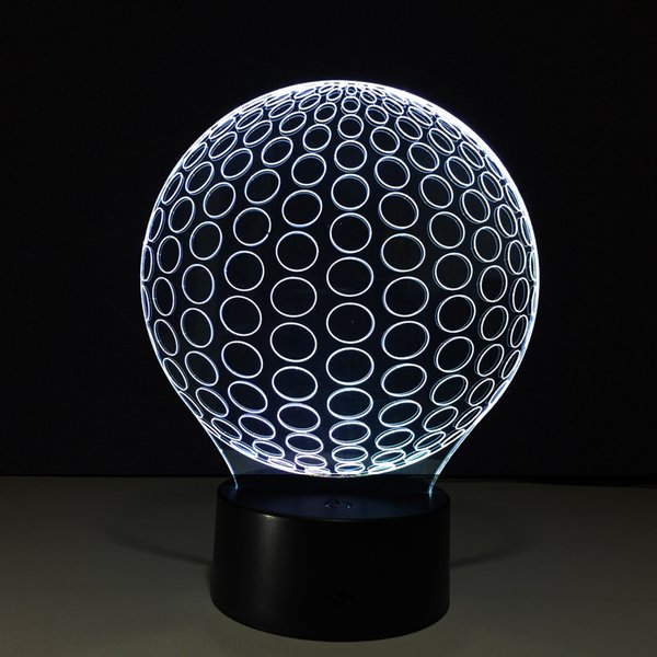 3D Golf Ball Optical Illusion Lamp Night Light DC 5V USB Charging AA Battery Wholesale Dropshipping Free Shipping Retail Box