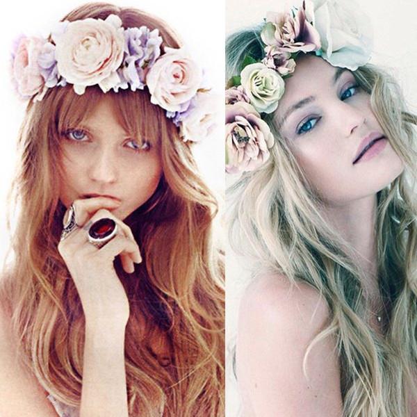 Boho Flower Crown Festival Accesorios para el cabello Diadema de boda Guirnalda floral # R4
