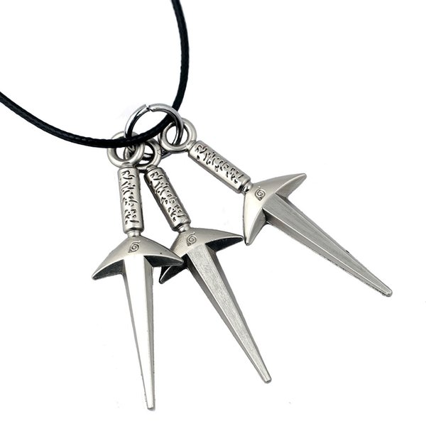 Naruto Anime Silver Plated Sword Pendant Necklaces Alloy Leather Chain Necklaces & Pendants For Gift Cospaly Jewelry
