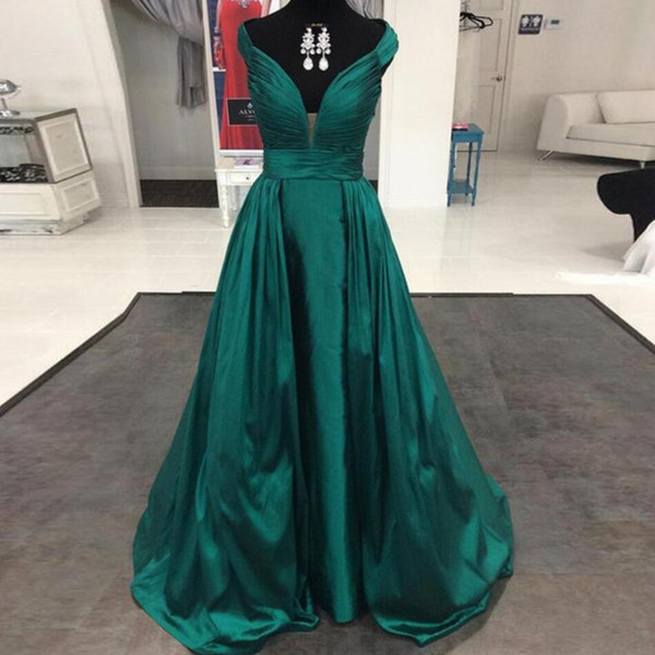 New plus size Green Elegant evening dress Elastic Silk like Satin prom dress Celebrity A-line dubai pregnant evening gown