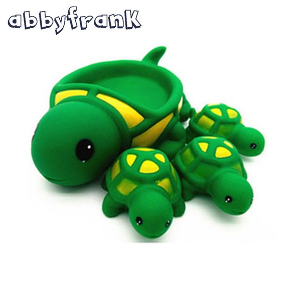 Wholesale- 4pcs Baby Bath Toys Cute Toy Rubber Race Squeaky Animal Set Bathing Classic Water 0-12 Months Rabbit Delphinidae Duck Crocodile