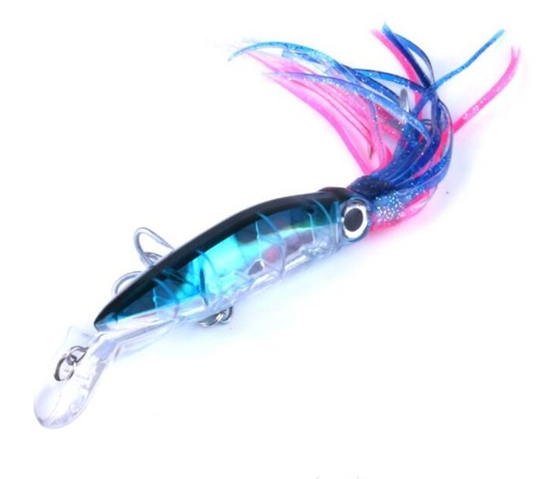 6 Colors Squid Trolling Lures 14CM 40 Gram Octopus Fishing Soft Lure Minnow Octopi Skirt for Saltwater