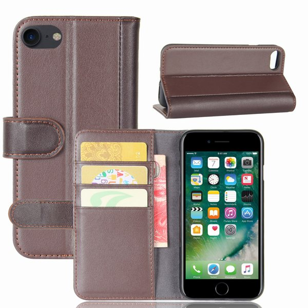 Phone Shell for Apple iPhone 8, TPU Soft Case+Genuine Leather Wallet Stand Case with Card Slots