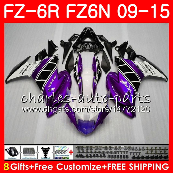 Body For YAMAHA FZ6N FZ-6N Purple white FZ6R 2009 2010 2011 2012 2013 2014 2015 82NO60 FZ-6R FZ6 R FZ 6N FZ 6R 09 10 11 12 13 14 15 Fairing