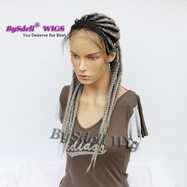 Acheter Pastèque Coiffure Fat Braids Perruque Synthétique Gris Couleur  Cheveux Tressé Lace Front Perruques Avec Cheveux Bébé Pour Noir / Blanc  Femme