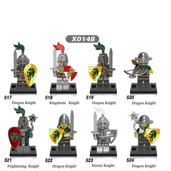 480pcs x0148 Medieval Knights Super Heroes Gladiatus kingdom knight frieghtening Dragon kinight Warrior Building Blocks bricks Toys