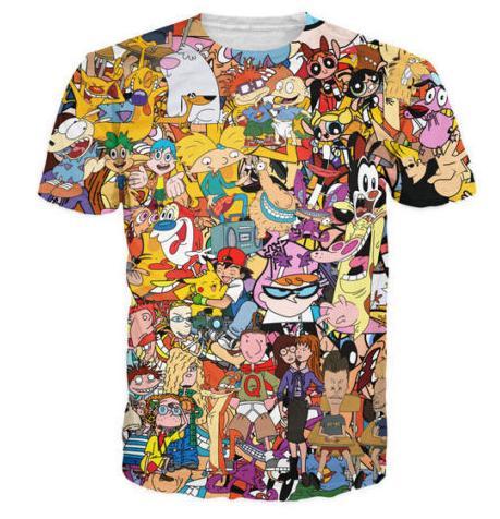Nueva moda para hombre / mujer de dibujos animados Totally 90 s camiseta de verano estilo divertido Unisex 3D Imprimir Casual camiseta tops más tamaño AA276