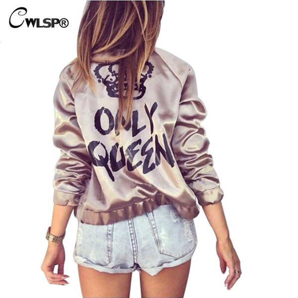 Wholesale- Fashion Women Basic Coats Satin Silk Champagne Gold Bomber Jacket Back ONLY QUEEN Crown Letter Print outerwear& coats QL2672