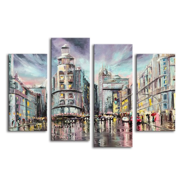 4 Panels Rainning City Oil Painting Canvas Giclee Prints Rain Day Painting Canvas Wall Picture Unframed/SJMT1869