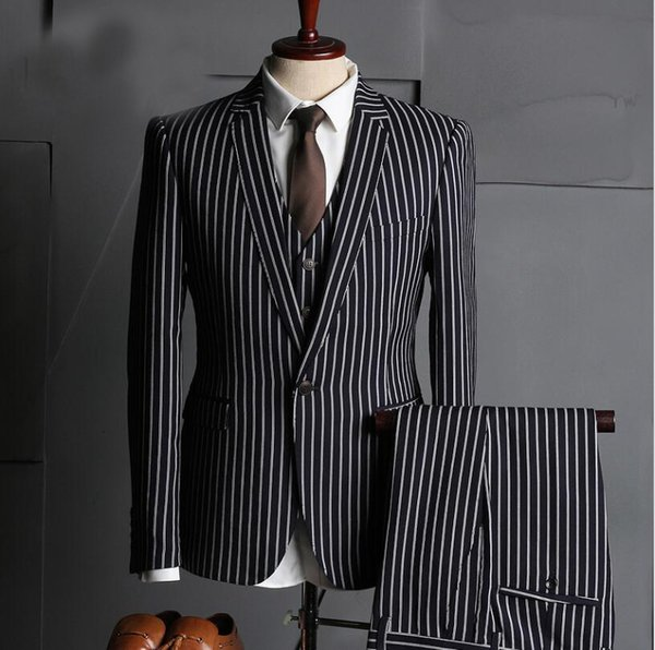 Pinstripe suits blazers male Vest and pants business suits for men s three piece suit Best Man Wedding Suits Prom Tuxedos Wholesale 037