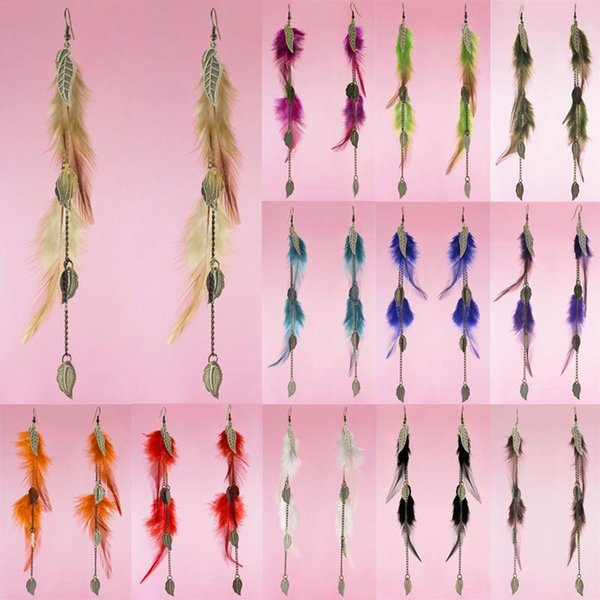Feather Earrings 12 Colors wholesale lots Bronze Leaf Charm Chain Light Dangle Eardrop (Deep Pink Orange Army Green Turquoise Purple)(JF120)