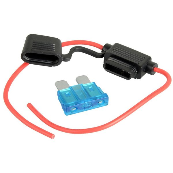 top popular ZOOKOTO Car Auto Wire In-line Automotive Medium Standard Blade Water-resistant Fuse Holder 16AWG 15A 12V 24V 32V DC 2021