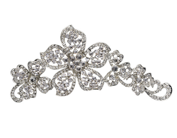 Super Large Wedding Brooch Beautiful Flower Pins with Rhinetsone Crystals Rhodium Silver Tone