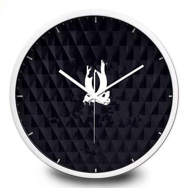 top popular New! Classic pattern wall clock Metal frame with famous logo black wall clock good quality 30cm 35cm 12inch 14inch 2019