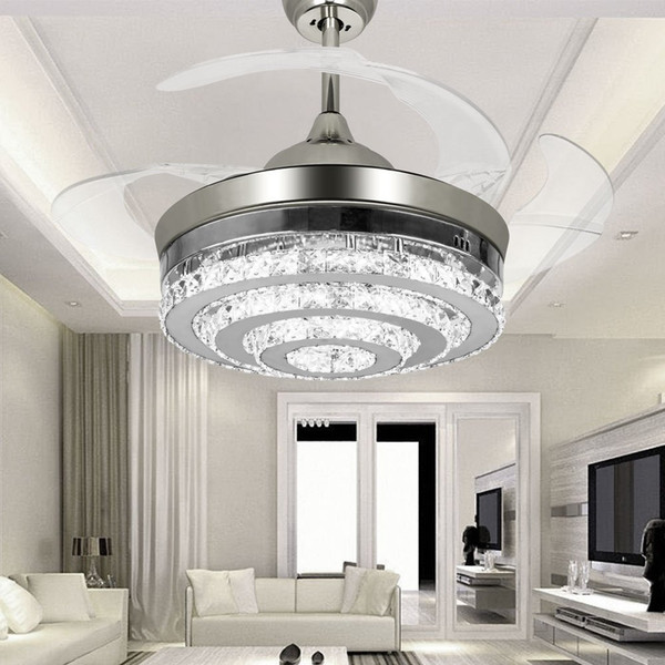 top popular Modern LED Invisible Crystal Ceiling Fans With Lights 42 Inches Living Rom Bedroom Folding Ceiling Fans Chandelier With Remote Control 2021