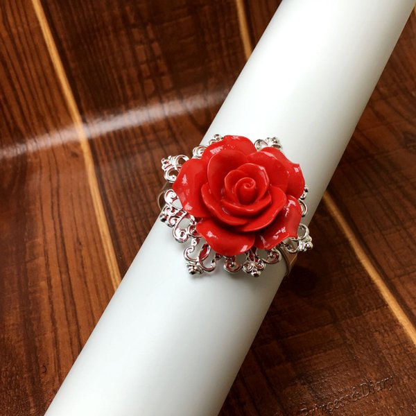 Wholesale- 50pcs/lot Red Rose Napkin Ring Silver Hoops Romantic Nice Looking Weeding Party Table Decoration