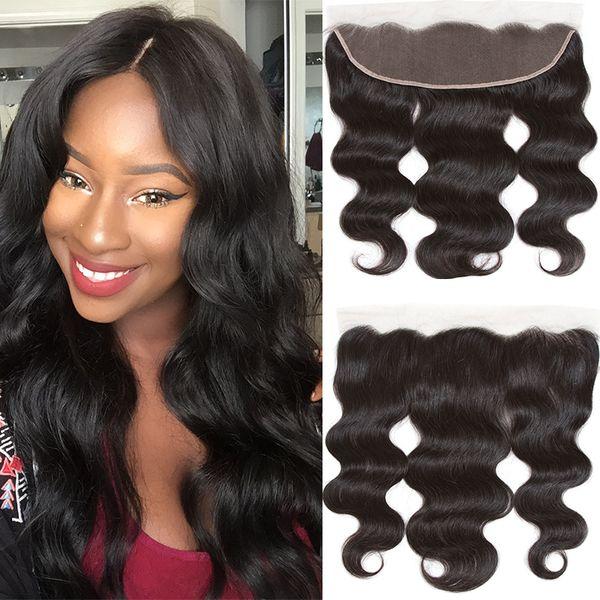Brazilian Peruvian Malaysian Indian Body Wave Virgin Human Hair Weaves Closure Unprocessed 13x4 Lace Frontal Closures 1 piece Free Shipping