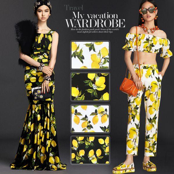 118см в ширину 19мм 93% шелк 7% прекрасный шелк с атласным принтом с лимонным принтом для рубашки одежды Cheongsam D320