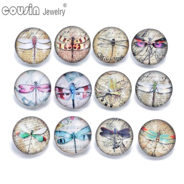 12pcs/lot Mixed styles 18mm snap button Jewelry dragonfly glass Snap Fit snap Bracelet Jewelry KZ0311