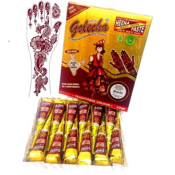 12X Tatuaggi all'hennè colore rosso naturale Golecha India Inchiostro a base di erbe Mehandi per body art pittura forniture tatuaggio
