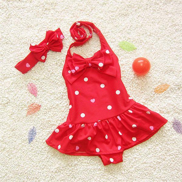 best selling Baby Girls loving heart dots swimsuit 2pc set headband+halterneck swimwear Kids cute bowknot bikini beach bathing suit for 1-7T