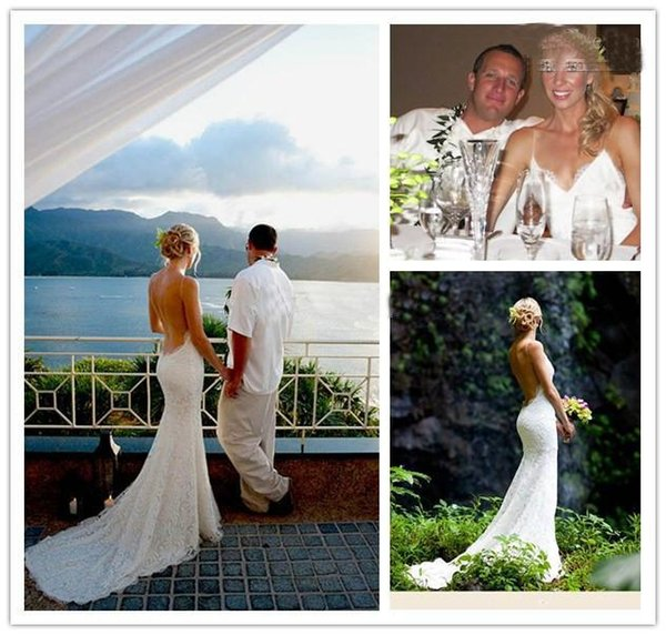 Custom Dreamlike Beach Wedding Dresses 2017 Fitted Spaghetti Straps Lace Backless Bridal Gown Simple and Elegant Wedding Gowns by Katie May