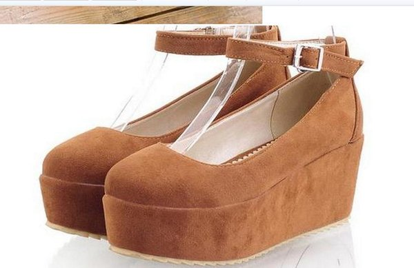 Spring large base sponge with cingulate single shoes, leisure shallow mouth high-heeled shoes