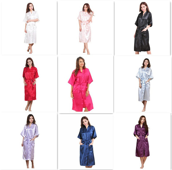9 colors Fashion Women's Solid Silk Kimono Robe for Bridesmaids Wedding Party Night Gown Pajamas M011