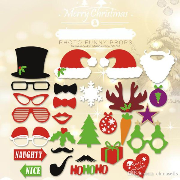 28pcs1set Christmas party Photo Props Moustache Hat Small Eyes Paper Beard Wedding Party Supplies Bachelorette Party Photo Booth toy