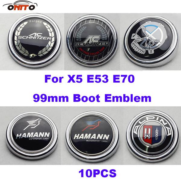 Hot 10pcs 99mm Aluninum Label Car Tail Boot Emblem Cap Auto Rear Trunk Logo Cover For X5 E70 E53 Alpina AC Schnitzer M Sport skull Badge