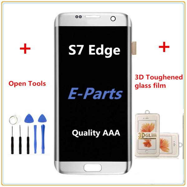 1 stücke für samsung galaxy s7 edge g935 g935f g935a g935fd g935p lcd digitizer displaiy screen assembly + s7 3d gehärtetem glas film + werkzeuge